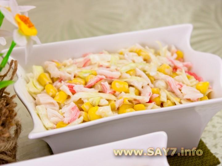 Рецепт Салат с кукурузой и капустой