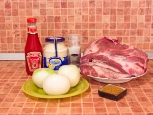 Шашлык из свинины, маринованный в розовом соусе. Ингредиенты