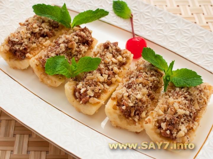 Рецепт Бананы, фаршированные орехами в шоколаде