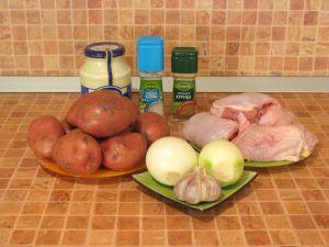 Курица с картофелем, запеченные под майонезом. Ингредиенты