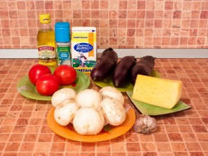 Баклажаны, запеченные с помидорами и грибами. Ингредиенты