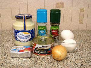 Салат из консервированной горбуши. Ингредиенты
