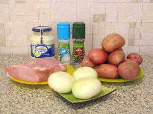 Мясо с картофелем под майонезом. Ингредиенты