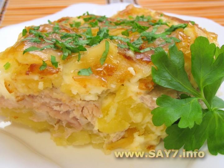 Рецепт Мясо с картофелем под майонезом