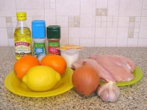 Куриное филе под соусом из ананасов и апельсинов