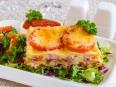 Лазанья с помидорами, сыром и ветчиной