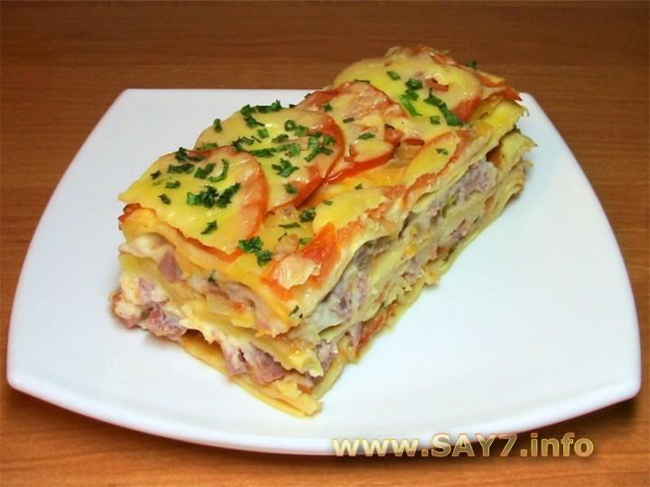 Рецепт Лазанья с помидорами, сыром и ветчиной