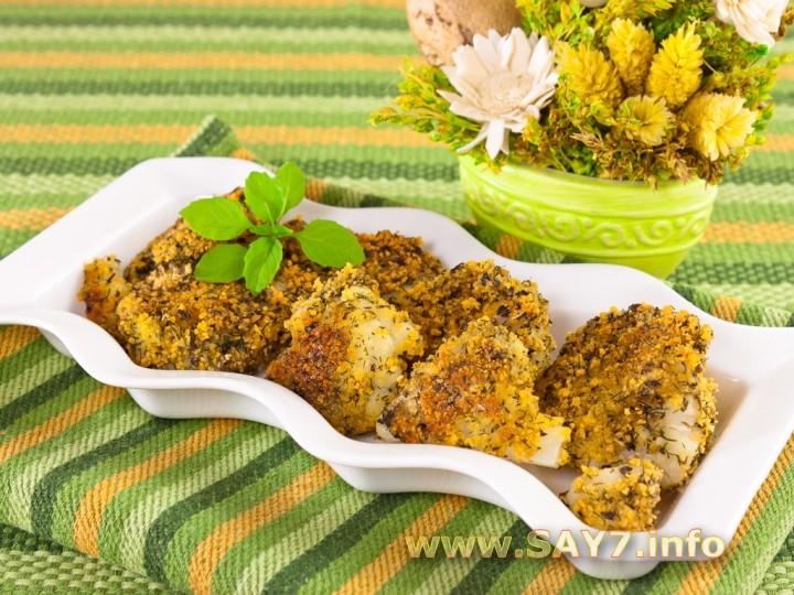 Рецепт Цветная капуста, жаренная в панировочных сухарях