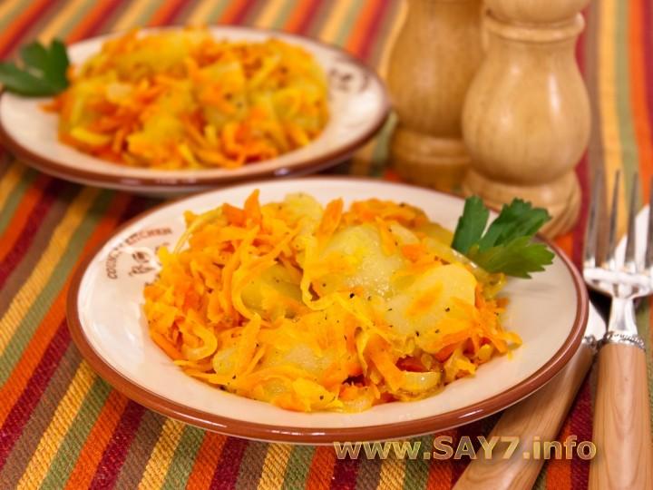 Рецепт Картофель, обжаренный с луком и морковью