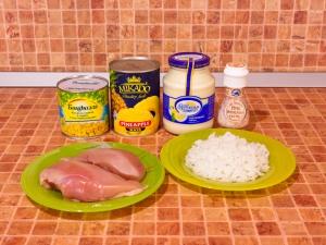 Салат с куриным филе, рисом и ананасами. Ингредиенты