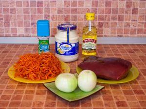 Салат с корейской морковью и печенью. Ингредиенты