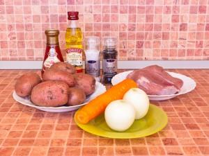 Горшочки с мясом и картофелем. Ингредиенты