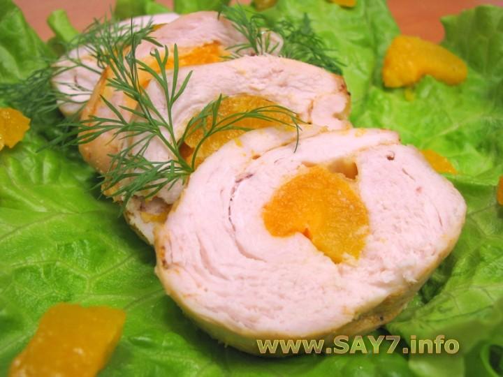 Рецепт Куриное филе, фаршированное абрикосами и сыром