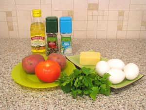 Омлет с помидорами и картофелем. Ингредиенты