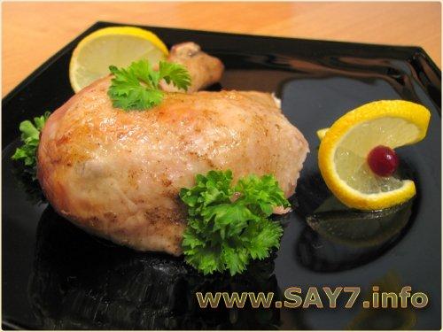 Курица, жаренная с лимоном и горчицей
