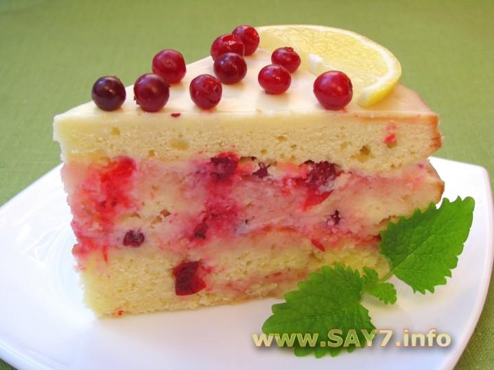Рецепт Торт «Роман лимона с клюквой»