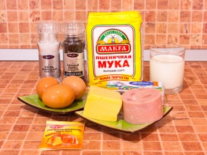Маффины с сыром и ветчиной. Ингредиенты