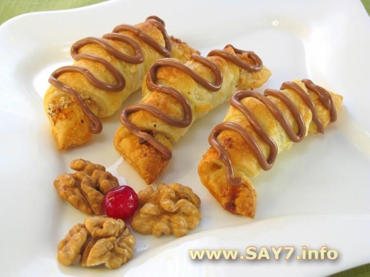 Рецепт Слоеные рогалики с орехами