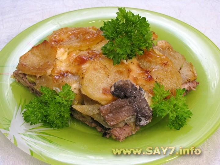 Рецепт Картофель с грибами и фаршем