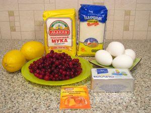 Пирог с лимоном и клюквой. Ингредиенты