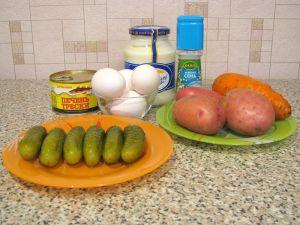 Салат с печенью трески. Ингредиенты