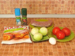 Слоеные пирожки с мясом и помидорами. Ингредиенты
