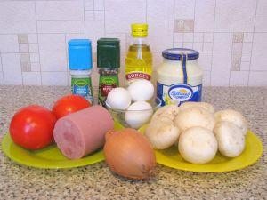 Салат с ветчиной, грибами и помидорами. Ингредиенты