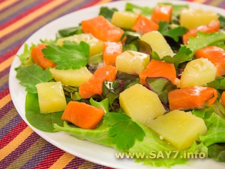 Рецепт Салат с горбушей и картофелем