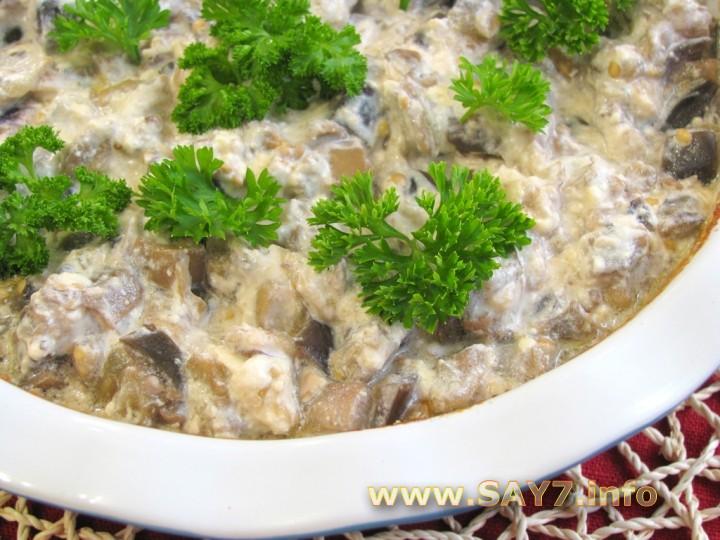 Рецепт Баклажаны, запеченные с грибами