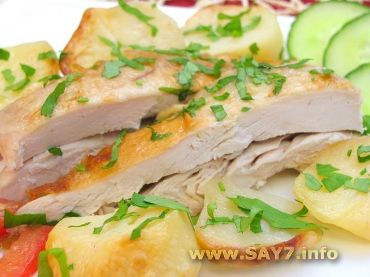Рецепт Курица с картофелем, запеченные в «рукаве»
