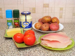 Рыба с картофелем, запеченные под майонезом. Ингредиенты