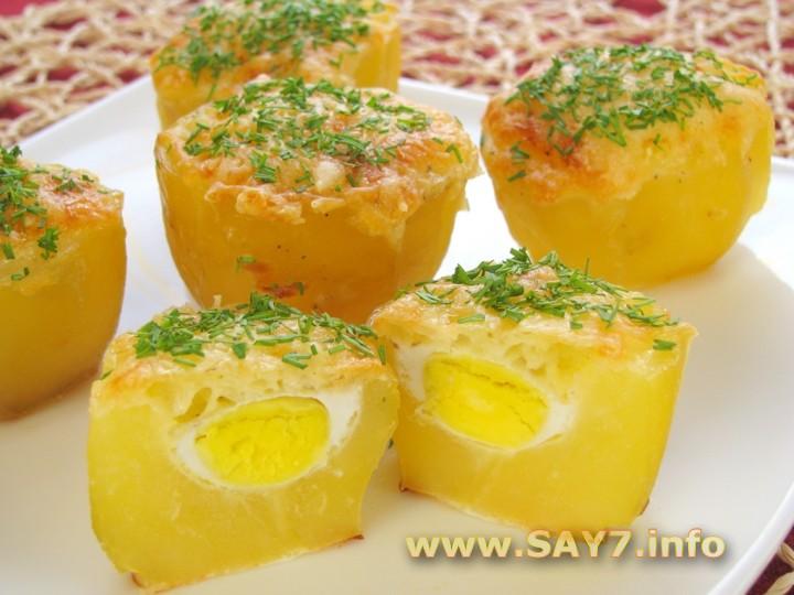 Рецепт Картофель, запеченный с перепелиными яйцами