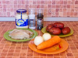 Горшочки с рыбой и картофелем. Ингредиенты