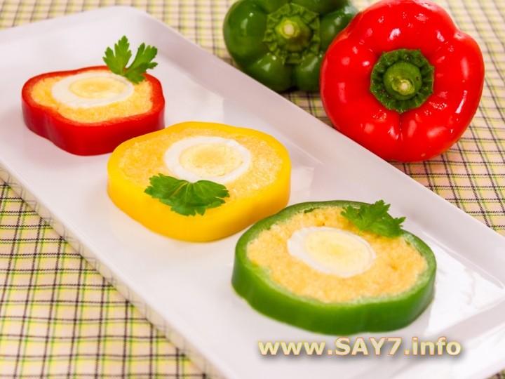 Рецепт Перец, фаршированный сыром и яйцами