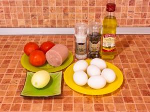 Яичница с ветчиной и помидорами. Ингредиенты