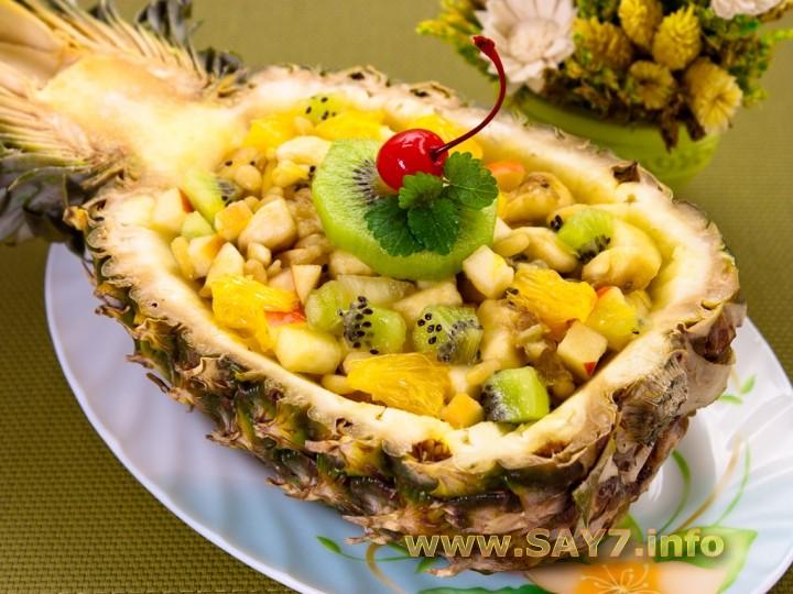 Рецепт Фруктовый салат в ананасе