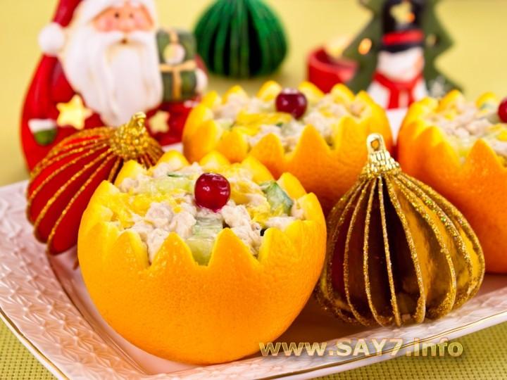 Рецепт Салат с куриным филе и огурцами в апельсине