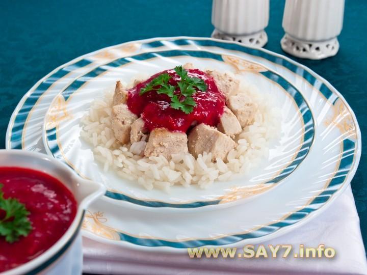 Рецепт Филе индейки под клюквенным соусом