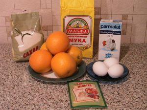 Бисквитное пирожное с апельсиновым суфле. Ингредиенты