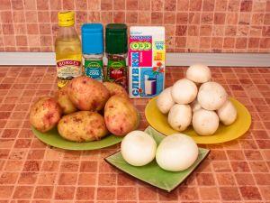 Суп-пюре с шампиньонами и картофелем. Ингредиенты