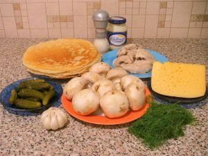 Блины, фаршированные куриным филе, грибами и сыром. Ингредиенты