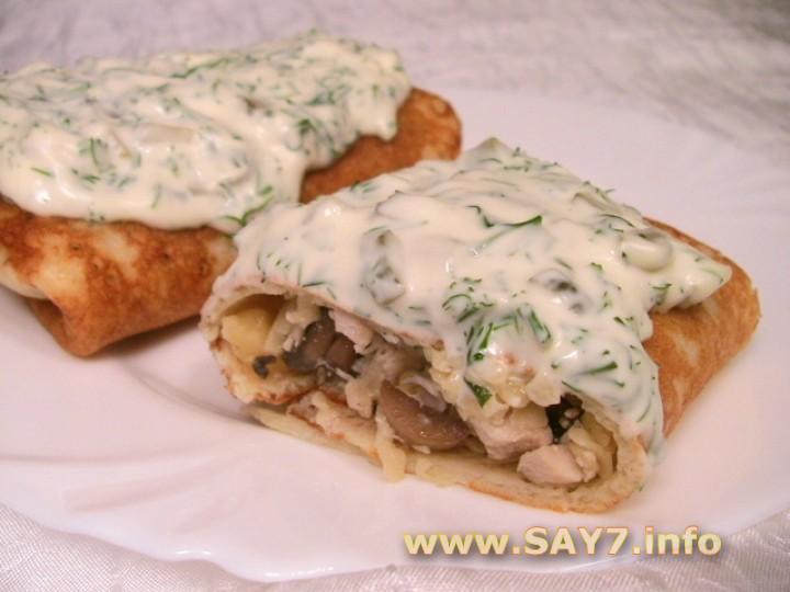 Рецепт Блины, фаршированные куриным филе, грибами и сыром