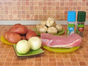 Свинина с грибами и картофелем, запеченная в фольге. Ингредиенты