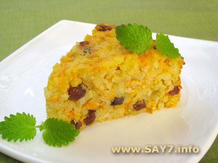 Рецепт Запеканка с рисом, яблоками и изюмом