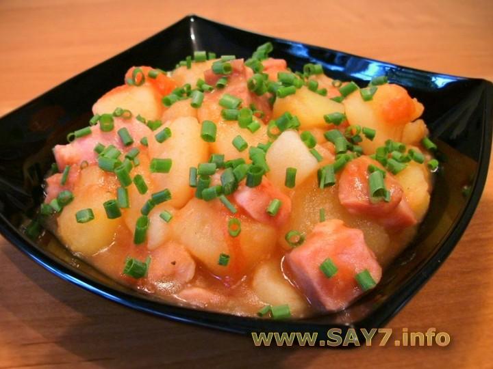 Рецепт Картофель, тушенный с копченым мясом
