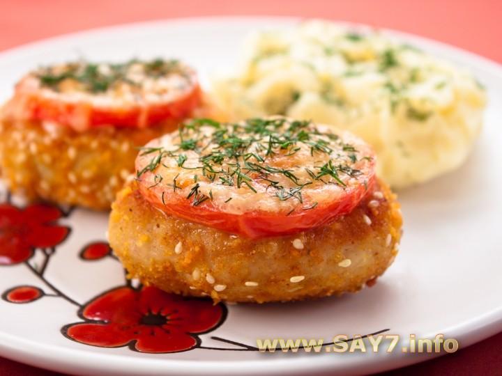 Рецепт Котлеты из индейки, жаренные с помидорами и сыром