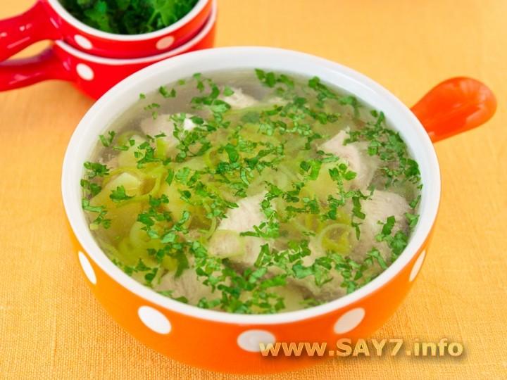 Рецепт Суп с индейкой, картофелем и луком пореем