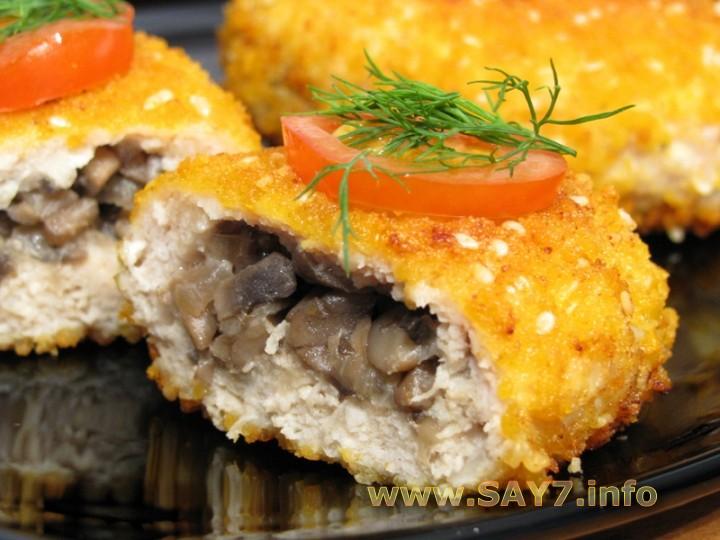 Рецепт Котлеты из индейки, фаршированные грибами