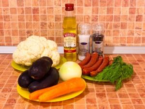 Цветная капуста, тушенная с баклажанами и сосисками. Ингредиенты