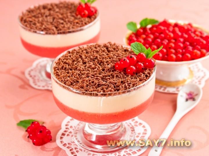 Рецепт Десерт с красной смородиной и сливками